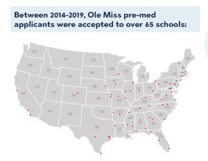A map noting locations of medical schools where some Ole Miss pre-med applicants were accepted between 2014-2019.