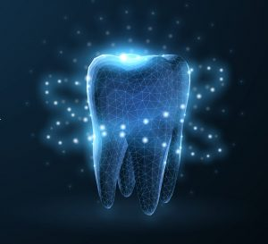 image of a tooth that has lighting effects