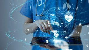 image of a healthcare professional with modern technology icons