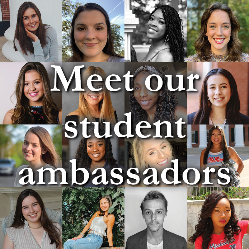 Grid of portraits of student ambassadors with text 'Meet our Student Ambassadors'